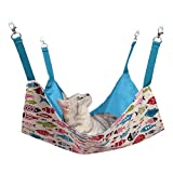 Cat Hammocks Bed Use with Cage or Chair, Reversible 2 Sides Small Pet Hammock for Kitten, Ferret,Bunny, Rabbit, Rat Hammock Comfortable Pet Hanging Bed, Soft Sleepy Pad, Sleeping and Resting Hammocks