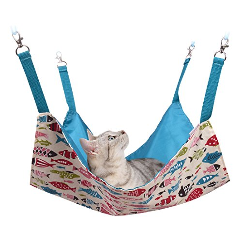 Cat Hammocks Bed Use with Cage or Chair, Reversible 2 Sides Small Pet Hammock for Kitten,...