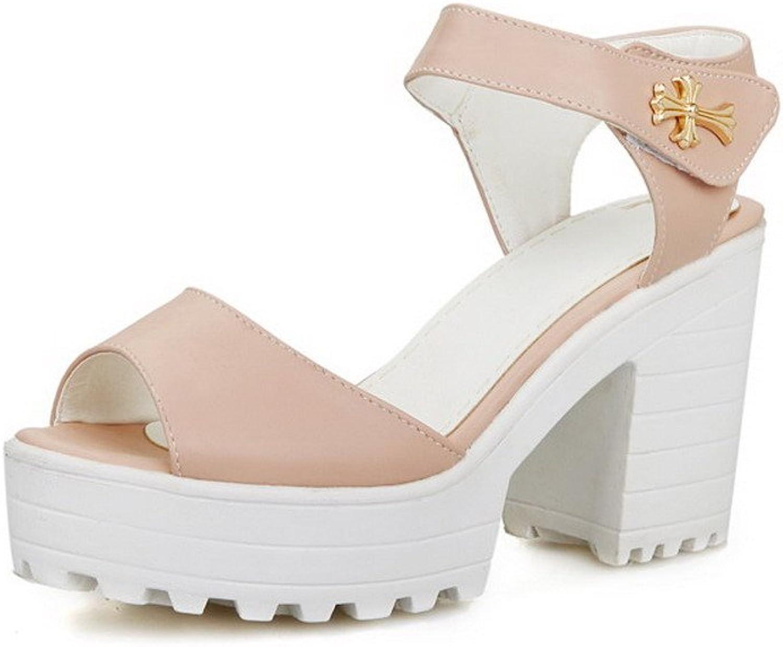 WeiPoot Women's Soft Material Peep Toe High-Heels Hook-and-Loop Solid Heeled-Sandals