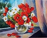 FBDBGRF Pintar por Número Las Flores Caen para Adultos Y Niños DIY Kit De Regalo De Pintura Al Óleo con Juego De Pintura Digital para Decoración del Hogar Lienzos para Pintar