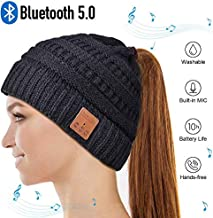 Bluetooth Hat, Gifts for Men Women Winter Music Hat, Upgraded V5.0 Bluetooth Beanie Hat Wireless Headphones with HD Stereo Speakers Built-in Microphone, for Women, Girls