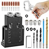 Fyrome 39PCS Pocket Hole Screw Jig Drill Angle Locator Woodworking Drilling Guide Positioner Tool for Woodworking Pocket Hole Screw Jig