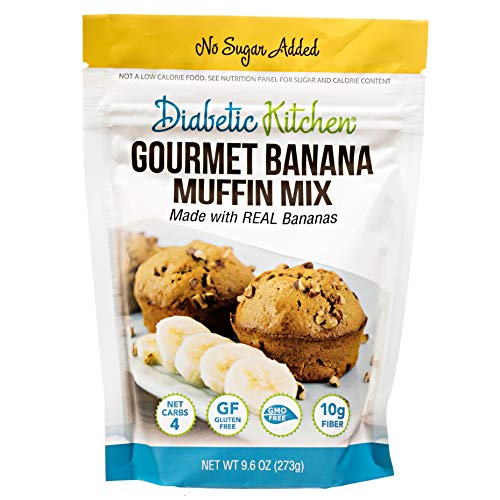 Diabetic Kitchen Low Carb Muffin Mixes - Low Sugar Banana Snack Muffin - 4 Net Carbs No Sugar Added - 10g Fiber, Gluten Free, Non-GMO, No Artificial Sweeteners or Sugar Alcohols