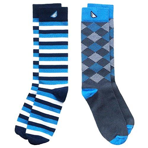 Colorful Fun Patterned USA-made Dress Socks for Men - Sky Blue &...