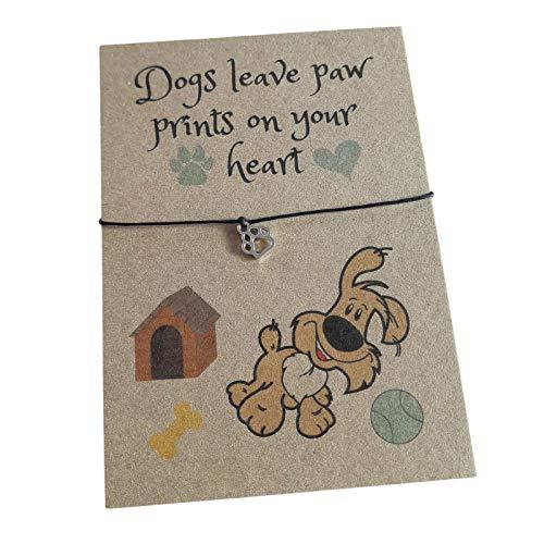 Dog Puppy Brown Verse Card with Paw Print Charm Wish Bracelet & Envelope