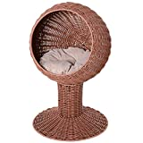 "PawHut 28"" Hooded Rattan Wicker Round Elevated Condo Cat Bed with an Elegant Design & Included Cushion - Brown"