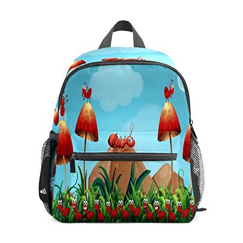 Preshool Rucksack Insekten Ameisen mit Pilz Garten Kleinkind Mini Schultasche Kinder Daypacks für Jungen Mädchen