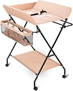 Baby Changing Table with Rolling Wheel  Infant Folding Diaper Station for Small Spaces  Portable Nursery Massage Station Dresser for 0-3 Years Old  Color Beige