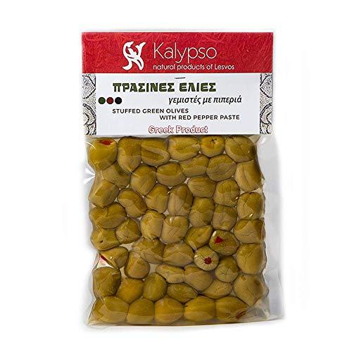 Kalypso Gefüllte Grüne Oliven mit Paprikapaste in Vakuum Packung 200 g, 3er Pack