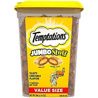TEMPTATIONS Jumbo Stuff Cat Treats, Tasty Chicken Flavor, 14 oz. Tub