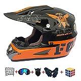 CJBYYBF Casco bambino moto, Con design Freddo casco bambino cross Certificato D.O.T casco Standard per moto cross per bambini con occhialini, guanti, maschera. (A, M: 54-55 cm)
