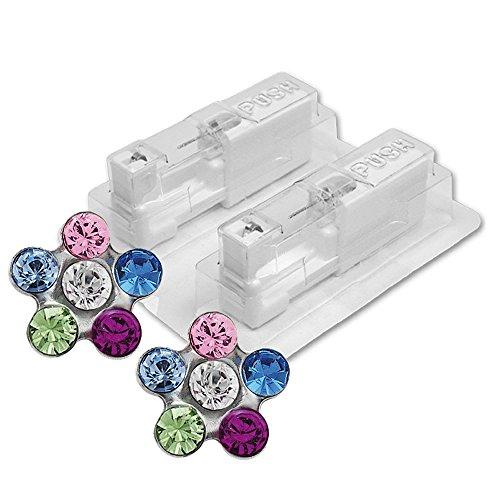 1 Paar STUDEX Medizinische Ohrstecker BLUME Regenbogen/Kristall