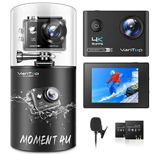 VanTop MM4U アクションカメラ 4K高画質 WiFi搭載 外部マイク対応 2インチタッチパネル EIS手ブレ補正 30M防水 170度広角レンズ WEBカメラ 水中カメラ スポーツカメラ Vlogカメラ リモコン付き バッテリー2個 タイムラプス ループ録画 連写 スロモーションIOS Androidに適用