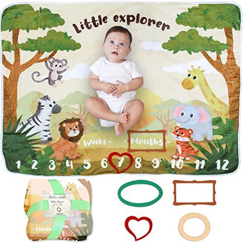 Baby Meilenstein Decke | Foto Monatsdecke Baby Neugeborene Junge oder Mädchen, Unisex | Personalisiertes Baby Party-Geschenk | Motiv Safari & Dschungel | Weich & Dick | Baby Monats-Decke