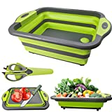 Collapsible Cutting Board, Portable Washing Veggies Fruits Food Grade Camping Sink with Draining...