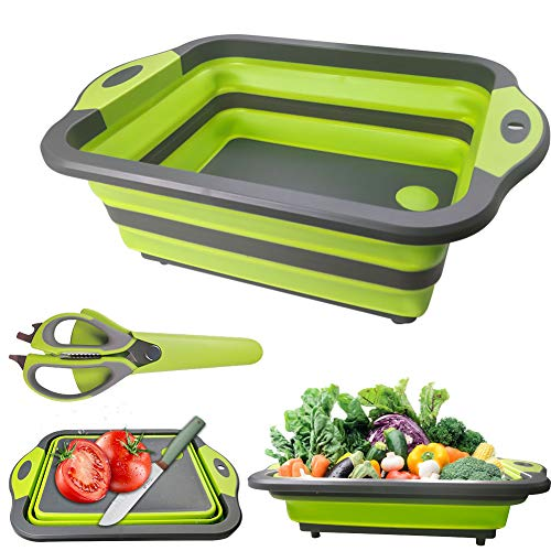 Collapsible Cutting Board, Portable Camping Kitchen Sink with Multifunction Kitchen Scissors- Foldable Washing Basket Silicone Dish Tub for BBQ Prep/Picnic/Camping-Green