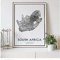 デコレーションアーツ南アフリカカントリーノルディックロードマップリビングルームデコレーションキャンバスモダンホームアートデコレーションポスタープリント-70x120cm1pcsフレームなし