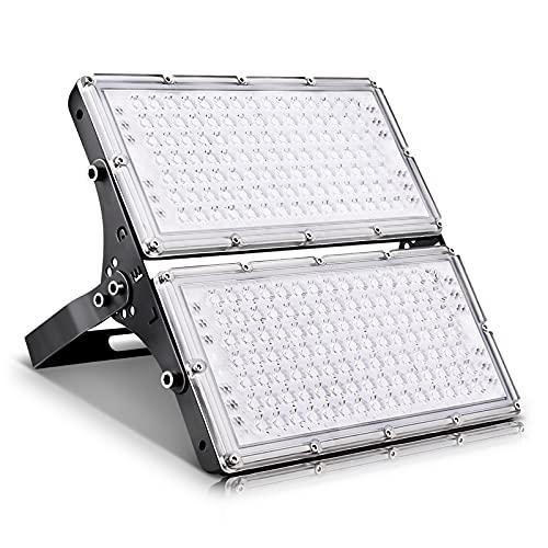 Viugreum Faretto LED da Esterno 200W, IP66 Resistente all'acqua Faretti LED da Esterno, Luce Di Sicurezza 20000LM, 3000K Bianco Caldo, Consumo Basso Super Luminoso Faretti LED per Giardino, Magazzino