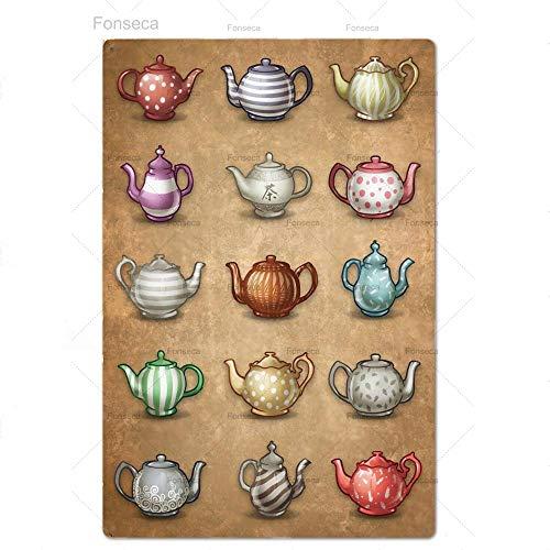 GVFDNTFRF Tee-Bar Wanddekor Poster Platte Zeichen Plakette Metall Teehaus Eisen Malerei Vintage Sea Shabby Chic In Küche Dekorativ 20x30cm PT6886