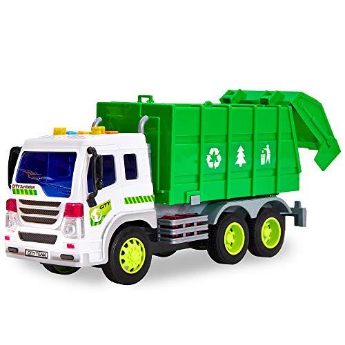 HERSITY Müllauto Spielzeug Groß, LKW Autos Kinderspielzeug mit Sound und Licht Fahrzeug Geschenk für Kinder Jungen 3 4 5 Jahre, 1:16 Müllwagen Grün