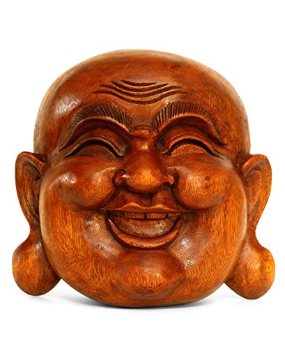 G6 COLLECTION Wooden Wall Mask Laughing Smiling Happy Buddha Head Statue Hand Carved Stand Alone Sculpture Handmade Figurine Decorative Home Decor Accent Rustic Handcrafted Art Wall Hanging Decoration Happy Buddha Mask