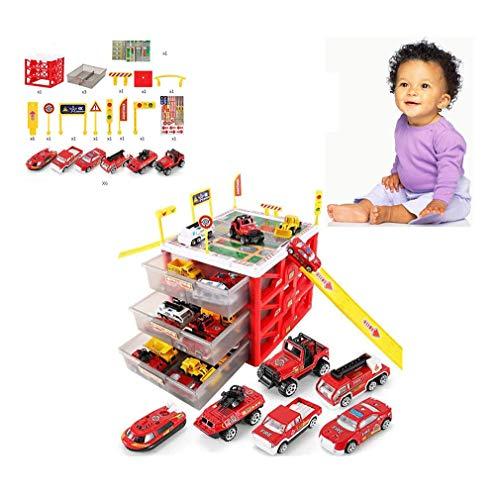 LGRQWER Garage Fire Engine Toy Voiture Stockage Stationnement avec Diapositives pour Les Véhicules De Pompier Jeu De Rôle Jouets, pour 3-12 Ans Cadeaux d'anniversaire,A