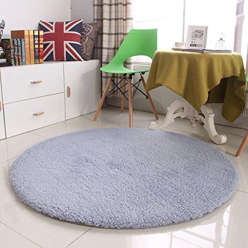 American Modern Style Verdickter runder zotteliger Teppich, Fitness-Yoga-Bodenmatte, Couchtisch, Computerstuhl, Schlafzimmer, Wohnzimmer, Nachttisch, Einfarbiger Teppich, F, 100×100cm