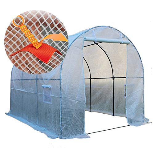 HWF Premium Grow Tunnel Greenhouse, Garden Polytunnel with Windows and 2 Zipped Door, Outdoor Fruit Vegetable Cloche, Reinforced PE Cover, White (Size : 600x200x200cm)