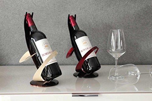 Gilde Lot de 2 Porte-Bouteilles en métal Noir/Rouge 19 x 19 x 30 cm
