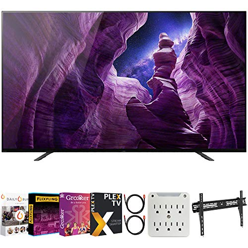 Sony XBR65A8H 65-inch A8H 4K OLED Smart TV (2020 Model) Bundle with Premiere Movies Streaming 2020 + 30-70 Inch TV Wall Mount + 6-Outlet Surge Adapter + 2X 6FT 4K HDMI 2.0 Cable