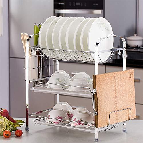 WeFun Abtropfgestell 3 Etagen, Geschirrabtropfer Geschirrtrockner für Teller und Besteck, Kitchen Craft Abtropfgestell (A)