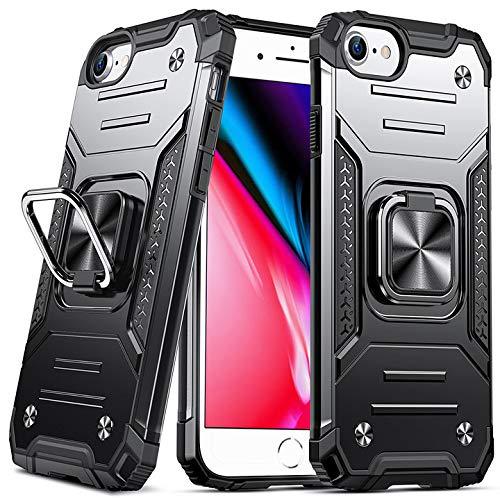 DASFOND Armor Hülle für iPhone SE 2020 iPhone 8/7/6S/6 Case Militärische Stoßfeste Handyhülle [Upgrade 2.0] Cover 360 ° Ständer mit Auto Magnet,Schwarz