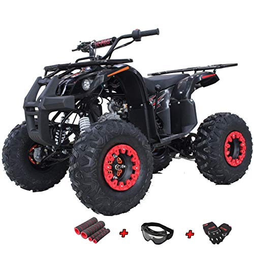 X-PRO 125cc ATV 4 Wheels Wheelers Quad 125 ATV Quads with LED Lights, Big 19'/18'Tires!(Black)