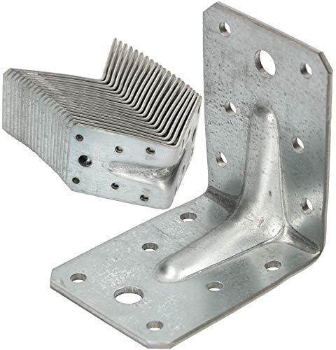 KOTARBAU® Winkelverbinder 75 x 75 x 55 mm mit Rippe Sicke Lochwinkel Bauwinkel Holzverbinder Balkenwinkel Verbinder Winkel Top -Qualität Silber 25 Stk.