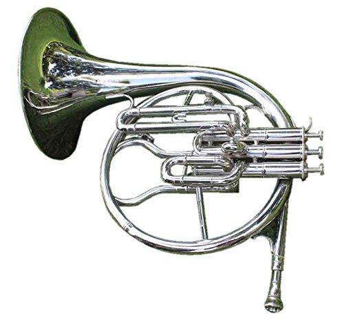 Queen Brass Mellophone Frenchhorn Bb/F Pitch Chrome Finish W/Case & Mp Silver