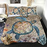 Sleepwish Rustic Map Comforter Sets Sealife Sea Turtle Coastal King Reversible Comforter 4 Pieces Old Brown Marine with 2 Pillow Shams and 1 Cushion Cover (Queen)