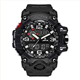 Digital Men Wrist Watch, Military Tactical Waterproof Analog Quartz Watches for Men, Black