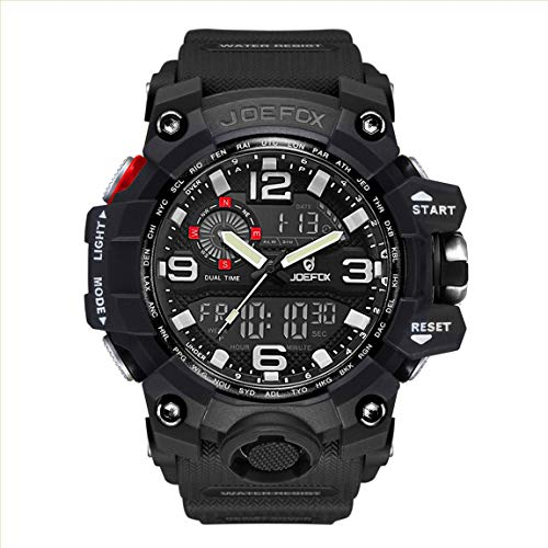 Reloj militar para hombre, digital, militar, analógico, digital, grande, esfera grande, 56 mm de diámetro, cronógrafo, para hombres, resistente al agua, correa de resina LED, reloj de pulsera negro