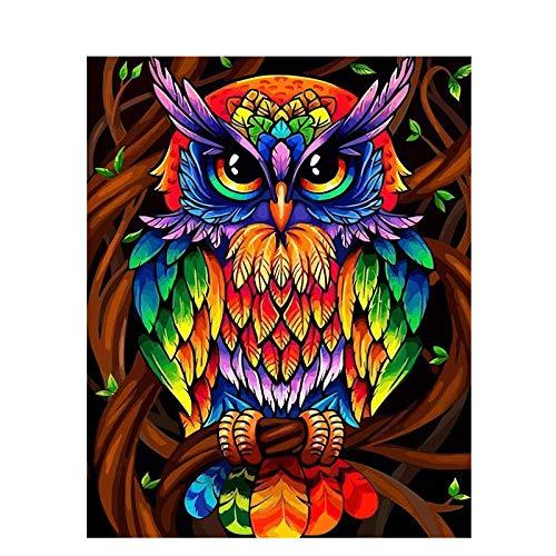 DIY pintura al óleo Pintar por números Búho colorido imagen del arte de la pared dibujo con cepillos decoración de Navidad decoraciones regalos (sin marco) 40 * 50 cm