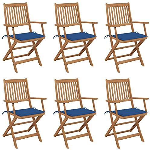 vidaXL 6X Madera Maciza Acacia Sillas de Jardín Plegables y Cojines Sillón Exterior Balcón Patio Terraza Asiento Butaca Muebles Mobiliario Duradera