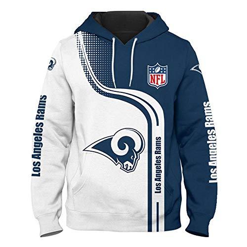 NFL Ropa Deportiva Hombre con Logo Los Angeles RAMS y Sudaderas Hombres con Capucha Tela de Fibra Suave Camiseta Futbol Americano, Rugby Camiseta Manga Larga con Bolsillo - S