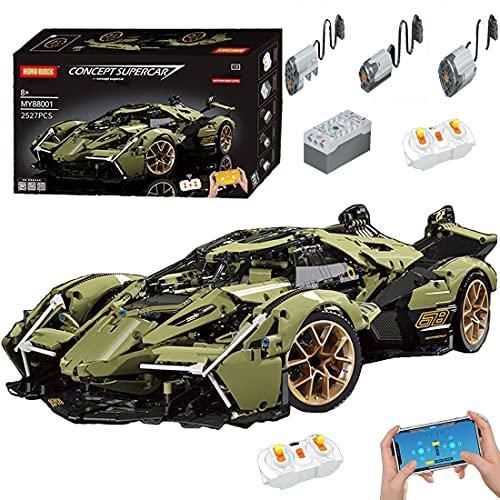 SESAY Coche deportivo teledirigido V12 para Lamborghini, con componentes de construcción, 2533 piezas, compatible con la técnica Lego.