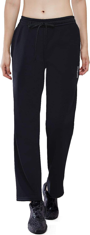 HISKYWIN Women Thermal Fleece Zip Pocket Sweatpants Water Resistant Warm Winter Running Pants