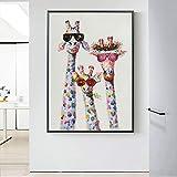 Impression sur Toile Affiche sur Les Photos de Girafe et Art décoratif pour Le salon50x75cmPeinture sans Cadre