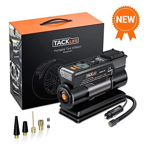TACKLIFE M1 Compressore Portatile per Auto - 40L/Min Mini Pompa Elettrica a Basso Rumore, 150PSI Manometro Digitale Preciso, 120W DC12V, Preselezione e Spegnimento Automatico