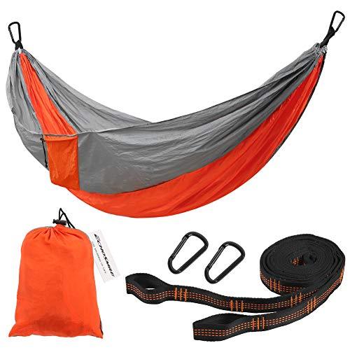 EchoSmile Orange Camping Hammock, Portable Hammocks with 2 Tree Straps, Ultra-Light Nylon 440lb Load Outdoor Hammocks, Quick-Drying Hanging Swing Parachute for Travel, Camping, Garden, Backyard