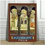 CARTEL DE IMPRESIÓN DE LONA DE VIAJE VINTAGE - Arte de pared de Ravenna Italia para carteles e impresiones de lienzo para el hogar de oficina decoración-20 x 28 pulgadas x 1 sin marco