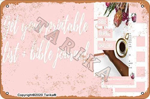 Geit Your Printable List Bible Journal 20.3 x 30.4 cm Vintage Look Placa decorativa de metal para el hogar, cocina, baño, granja, jardín, garaje, citas inspiradoras para decoración de pared