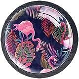 Flamenco rosado tropical 4PCS Pomo de armario, tirador para cajón, Pomos y Tiradores de Muebles,Pomos, pomos, para Puertas, Armarios de Cocina,Cajones - un solo agujero