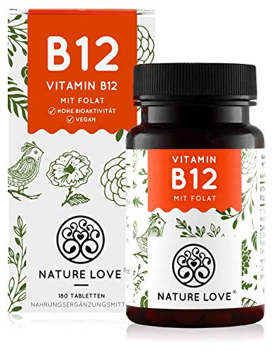 NATURE LOVE® Vitamin B12 Vegan - Vergleichssieger 2020* - 180 Tabletten. Beide aktive Formen Adenosyl- & Methylcobalamin + Depot + Folat 5-MTHF aus Quatrefolic® - Hochdosiert, made in Germany